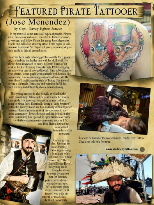 Featured tattooer Pirate Jose menendez MM Issue 3